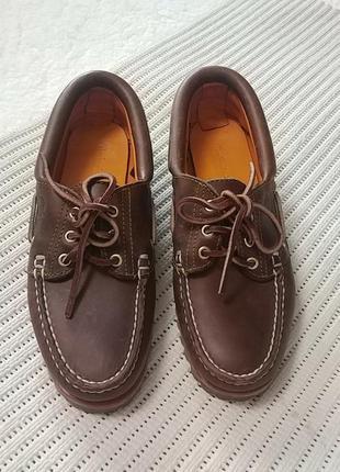Суперские кожаные туфли мокасины timberland