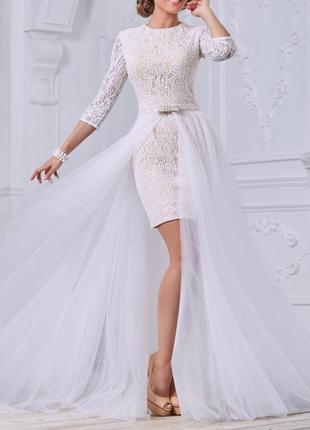 Короткое кружевное свадебное платье трансформер с рукавами и съемной юбкой в пол св-1033