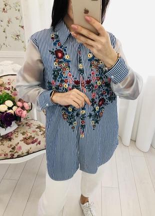 Zara рубашка с вышивкой вышиванка с рукавами из органзы