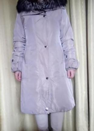 Пальто зимнее на кроликовой подсежке воротник чорнобурка