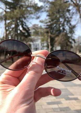 Распродажа! очки овальной формы без бренда (коричневые)