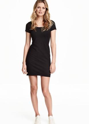Облегающее платье, трикотаж черное h&m