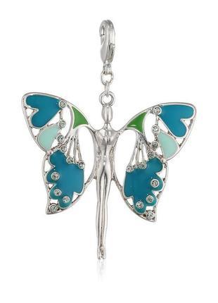 Подвеска шарм бабочка бирюзовая pilgrim дания элитная ювелирная бижутерия ручной работы