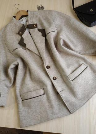 Жакет шерстяной серый винтажный австрия пальто короткое оверсайз