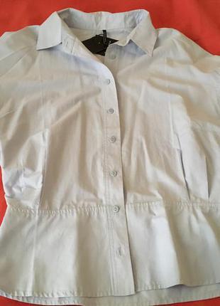 Офисная блуза голубая