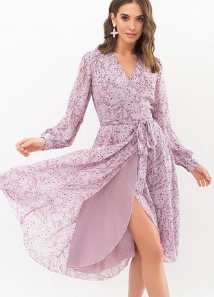 Платье на запах, шифон принт