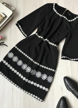 Черное платье с ромашками danity размер м