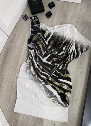 Платье белое sassofono эксклюзив на одно плечо с м мини короткое италия