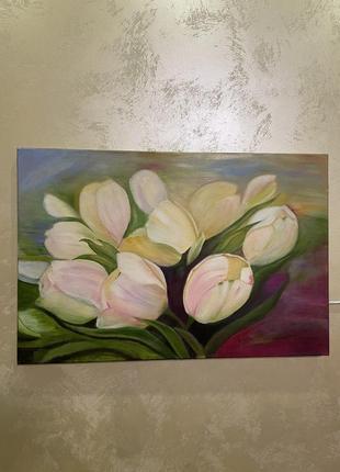 Картина тюльпани. олійними фарбами