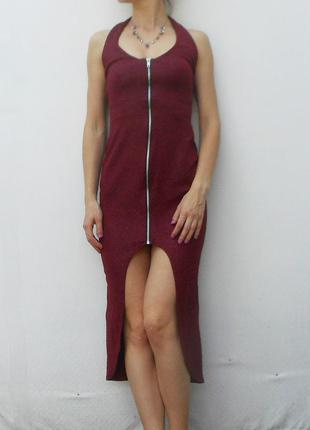 Трикотажное вечернее облегающее платье на молнии с открытой спиной