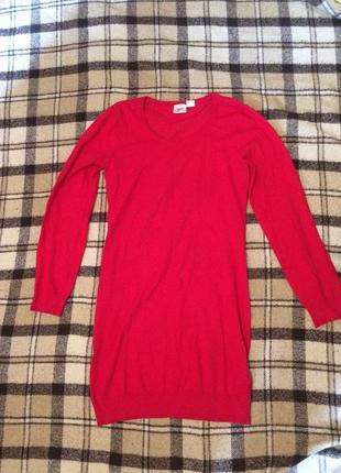 Красное тёплое платье-туника