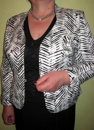 Женский нарядный пиджак жакет 48-50 белый черный принт