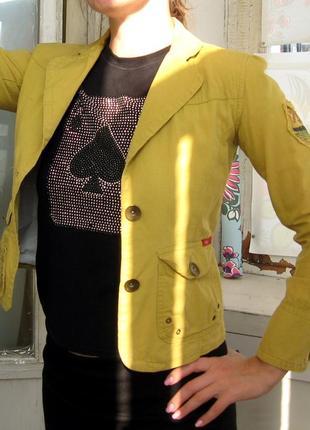Женский пиджак жакет only горчичный зеленый хаки 46 размер