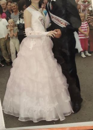 Шикарное бальное, выпускное платье + перчатки💓