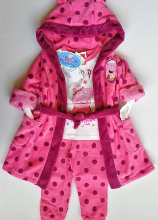 Очаровательный сет с халатом и пижамой 3в1 пеппа пиг peppa pig tu 92р