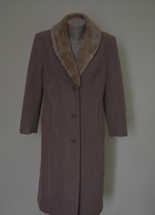 Шикарное шерстяное новое деми пальто классика,со съемным воротником модный нюдовый цвет
