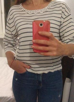 Коттоновый свитшот в полоску с вышивкой