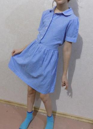 Платье коттоновое в клетку, 7-9 лет.