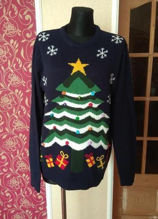 Класнюча новорічна кофта з зіркою ,яка співае і світититься,розмір l