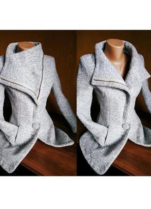 Модное шерстяное пальто косуха xuanyinglandi демисезон серое 💖 смотри описание