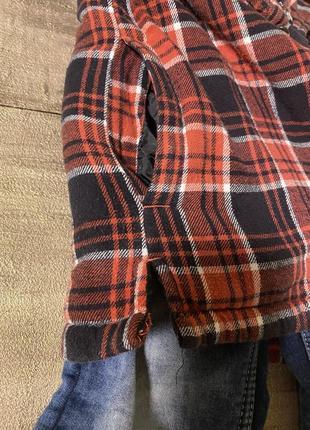 Эффектная рубашка/куртка на молнии в клетку 8-11 лет5 фото