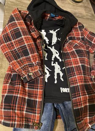 Эффектная рубашка/куртка на молнии в клетку 8-11 лет7 фото