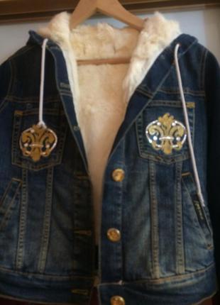 Куртка джинсовая с мехом кролика