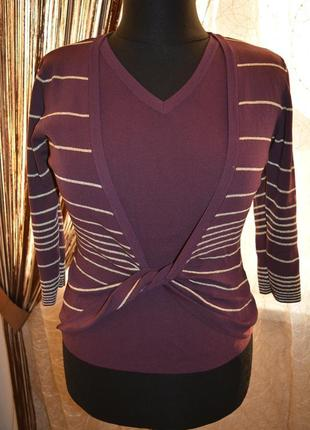 Стройнящая моделирующая кофта двойка, пуловер, полоска, золото, вискоза, делаем талию
