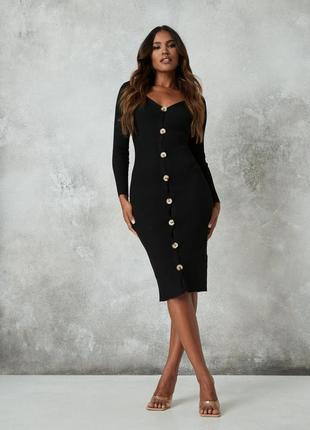 Вязаное платье чулок до длинного рукава на пуговицах длины миди от missguided