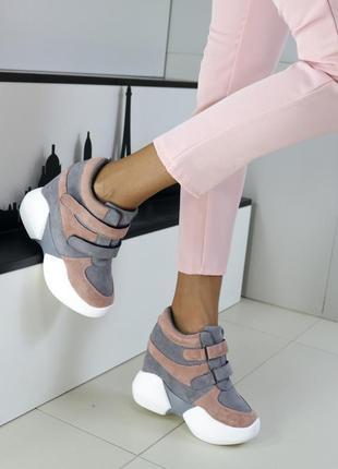 Сникерсы замшевые на липучках, сникерсы на высокой платформе, модные кроссовки