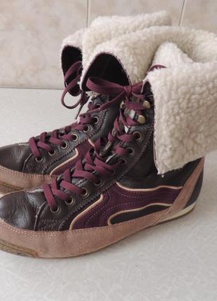 Dockers,германия,кожаные на меху высокие кеды,ботинки,сапоги,размер 40