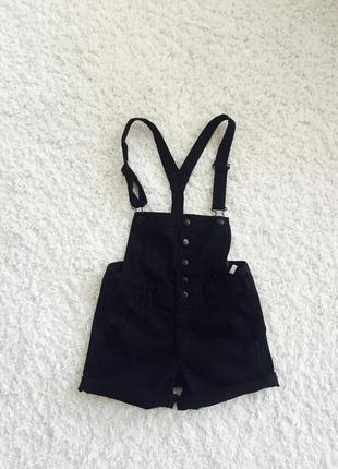 Плотный черный джинсовый комбинезон, шорты, ромпер на 8-9 лет