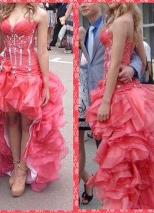 Выпускное платье канкан короткое длинное с корсетом шлейфом laura style