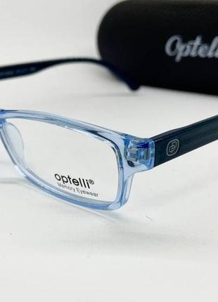 Гибкая прозрачная голубая оправа серые дужки под замену/установку линз optelli
