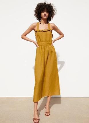 Zara платье миди лён, l, xl