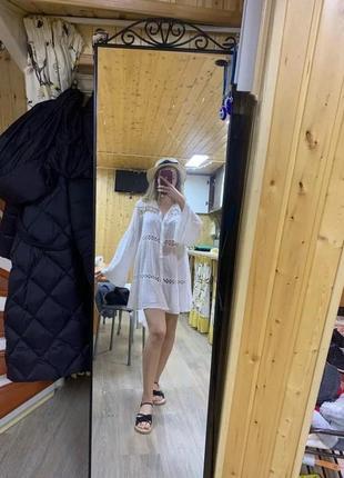 Пляжная туника белого цвета🥥 • ткань: креп жатка, качество люкс, отделка кружево