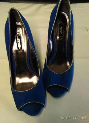 Синие туфли с открытым носком next