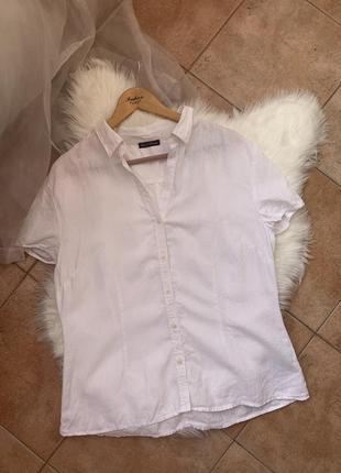 Белоснежная льняная рубашка с коротким рукавом от marc o'polo