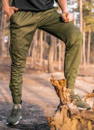 Мужские брюки/штаны карго хаки демисезонные джоггеры молодежные приталенные