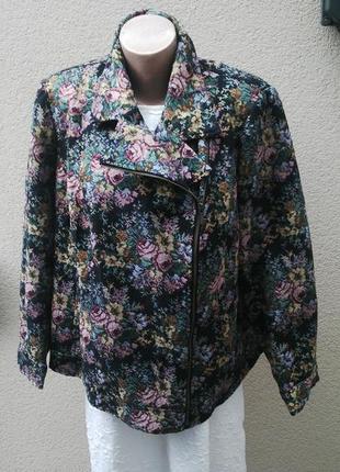 Косуха,куртка,жакет(пиджак) габиленовая в цветочный принт,большой размер, joe browns