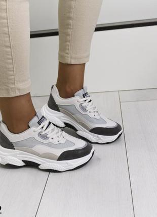 Кроссовки комбинированные на платформе, кроссовки на массивной подошве