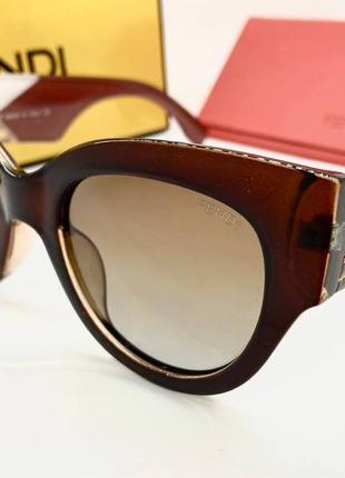 Fendi женские солнцезащитные очки коричневые с поляризацией линз