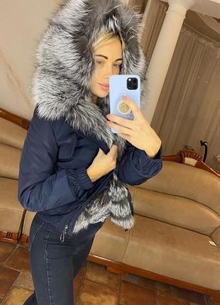 Женская короткая куртка парка с чернобуркой, бомпер с мехом, xs-xl