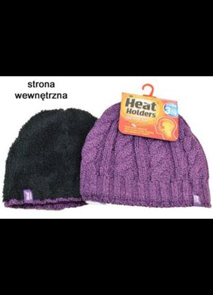 Зимняя термо шапка с мехом внутри heat holders.