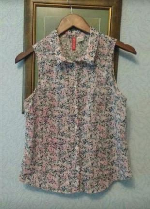 Легкая , невесомая,хлопковая блуза безрукавка