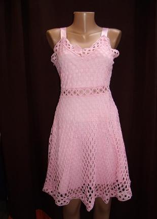 Женское розовое летнее платье  ж-3182.размер:l