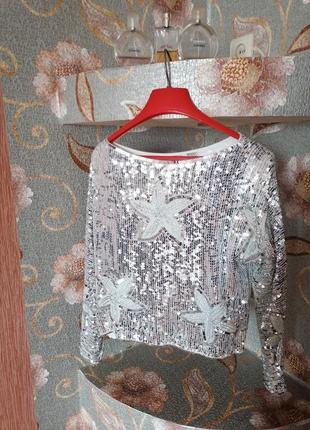 Винтажная блуза в паетках