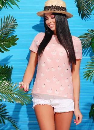 Легкая летняя блуза футболка фламинго