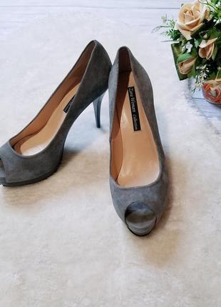 Замшевые туфли zara 40 размер серые туфли на каблуке зара туфлі открытый носок