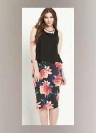 Трикотажное платье миди сукня в цветочный принт батал so fabulous р.52-54